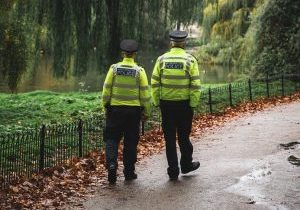 image of police patrolling park